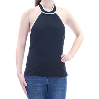 Womens Black Sleeveless Halter Casual Top Size M
