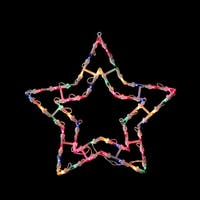 """15"""" Multi-Color Lighted Star Christmas Window Silhouette Decoration - WHITE"""