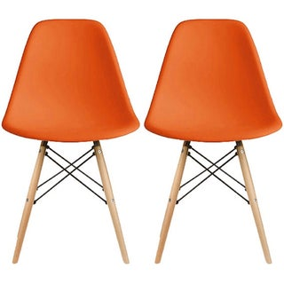 2xhome Set of 2 Designer Plastic Eiffel Chairs Wood Chair Bedroom Kitchen Desk Living Room Dining