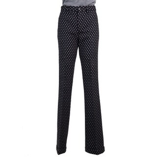 Miu Miu Women's Black Wool Blend Jacquard Flower Petal Pants