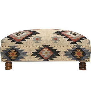 Link to Handmade Kilim Upholstered Ottoman (India) Similar Items in Living Room Furniture