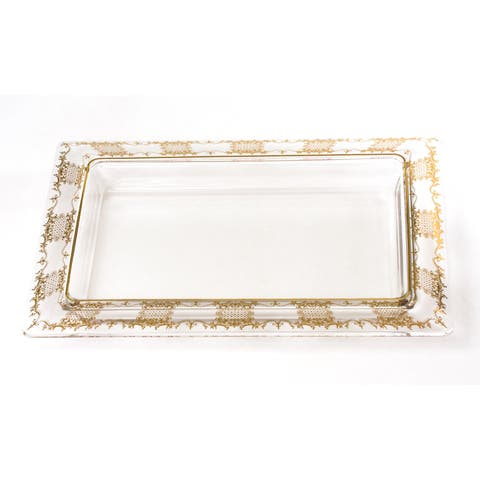 Oblong Tray with 14k Gold Artwork
