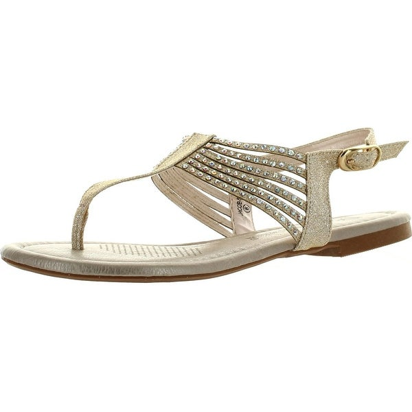 De Blossom Collection Jacob-5 Womens Glitter T-Strap Slingback Sandals