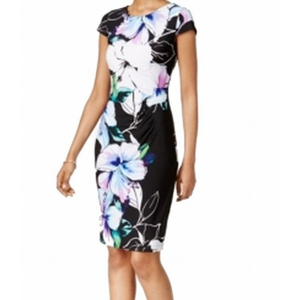 35984e36 Shop Connected Apparel NEW Black Womens 16 Floral Print Ruched Sheath Dress  - Free Shipping On Orders Over $45 - Overstock - 18343589