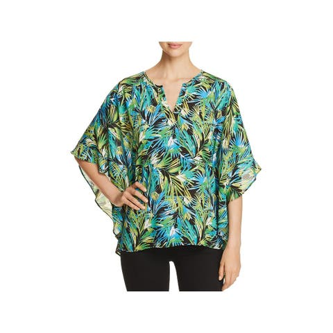 Status by Chenault Womens Blouse Printed Flutter Sleeves