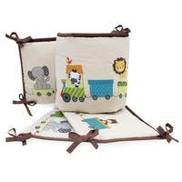 Bedtime Originals Choo Choo Beige/Brown Animal Train 4-Piece Baby Crib Bumper