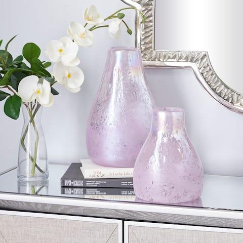 CosmoLiving by Cosmopolitan Purple Glass Vase (Set of 2) - 8 x 8 x 12