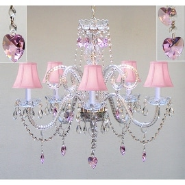 swarovski crystal trimmed plug in chandelier lighting with crystal pink shades