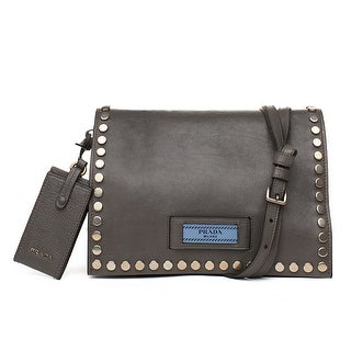 Prada Calf Leather Studded Crossbody Handbag - Blue
