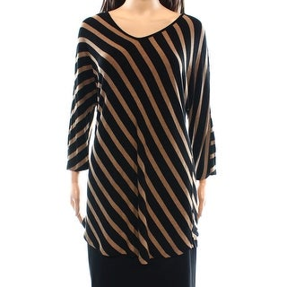 INC NEW Brown Women's Size Small S Striped V-Neck Tunic Sweater