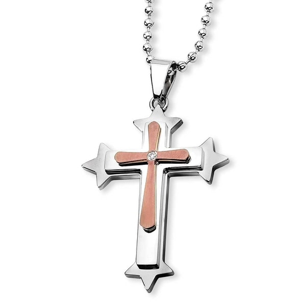 Chisel Stainless Steel and Brown IP-plated CZ Cross Necklace (2 mm) - 24 in