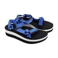 Teva Flatform Universal Womens Blue Textile Flip Flops Slip On Sandals Shoes