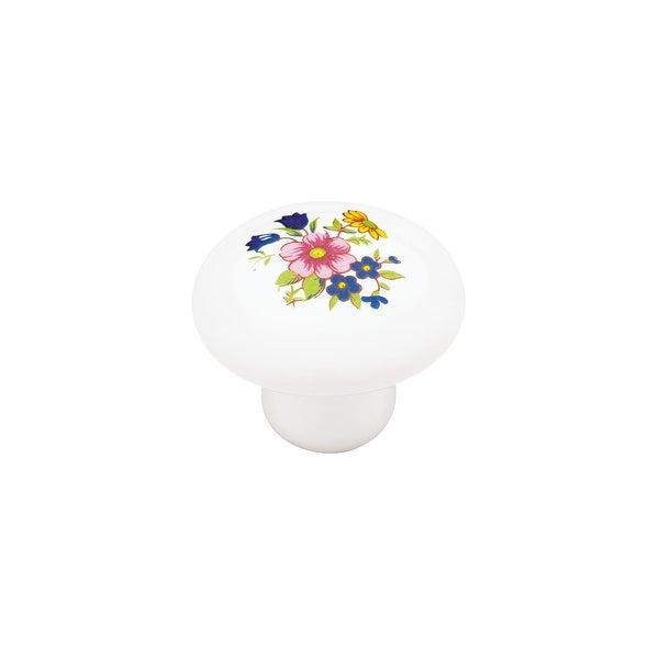 Ceramic 1-3/8 Inch Diameter Mushroom Cabinet Knob - white with flower