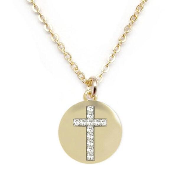 """Julieta Jewelry CZ Cross Disc Gold Charm 16"""" Necklace"""