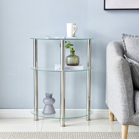 """Three-layer Tempered Glass Side Table - 23"""""""
