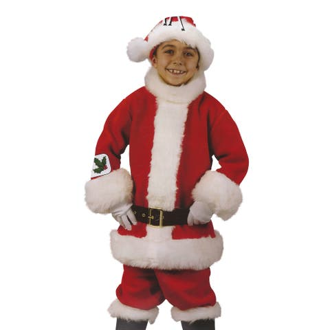 Red and White Santa Suit Plush Child Christmas Costume - Large