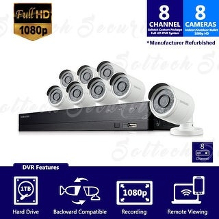SDH-B74081-1TB - Samsung 8 Channel 1080 Full HD HD Video Security System with 8 Outdoor Cameras (Refurbished)