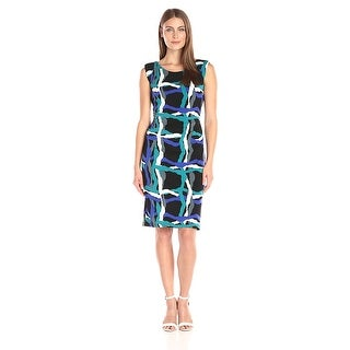 Nine West Printed Jersey Sheath Cap Sleeve Dress - 4