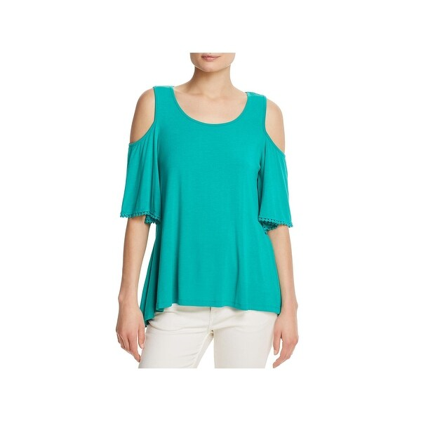 ae66f77606cc9 Shop Cupio Womens Casual Shirt Crochet Trim Cold Shoulder - Free Shipping  On Orders Over  45 - Overstock - 22371337