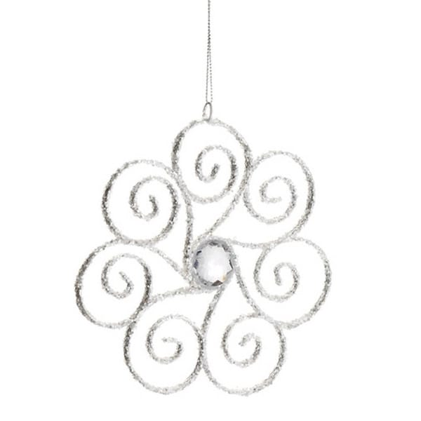 """6.25"""" Winter White Glittered Swirling Snowflake with Jewel Accent Christmas Ornament"""