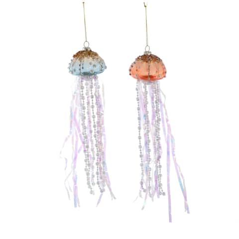 Katherine's Treasures of Sea Jellyfish Christmas Holiday Ornaments Set of 2