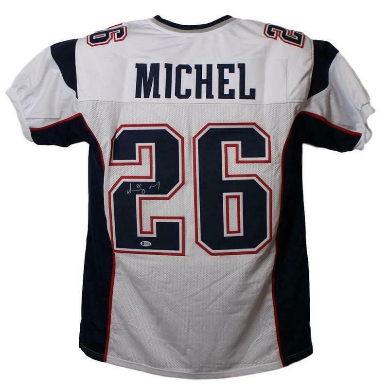 Sony Michel Autographed New England Patriots White XL Jersey BAS - Multi - 5' x 8'