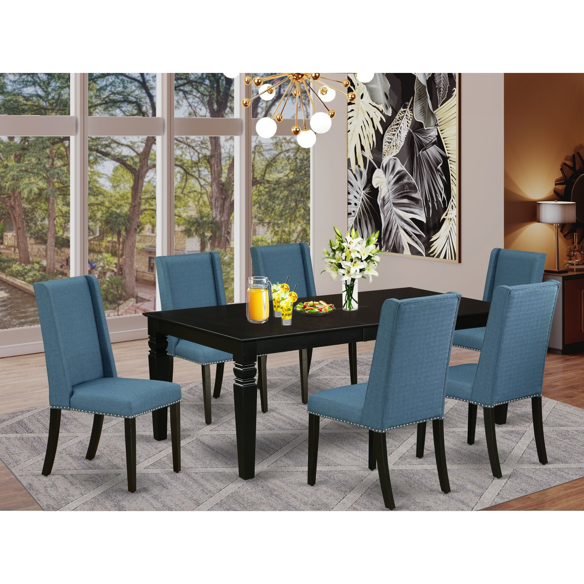 Lgfl7 Blk 21 7 Piece Dining Table Set 6 Person Dining Chairs And Butterfly Leaf Kitchen Dining Table High Back Black Finish Overstock 32085563
