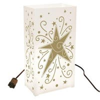 Set of 10 Lighted Celebration Gold Star and Swirl Luminaria Pathway Markers - White