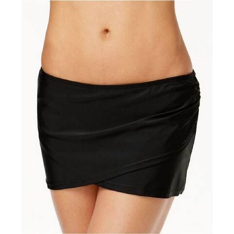 Island Escape Women's La Palma Crossover Swim Skirt, Black (14)