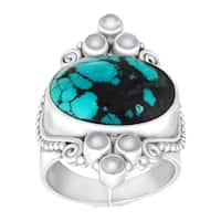 Sajen Natural Turquoise and Moonstone Scroll Ring in Sterling Silver - Teal