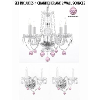 3pc Lighting Set - Crystal Chandelier and 2 Wall Sconces With Pink Crystal Balls