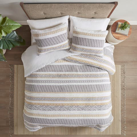 Madison Park Aella Yellow/ Charcoal Cotton Printed Duvet Cover Set