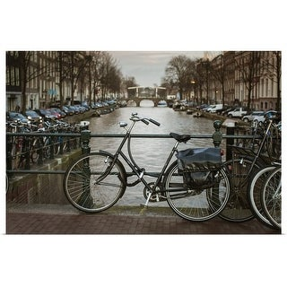 """""""Bikes Parked by Canal, Amsterdam, Netherlands"""" Poster Print"""