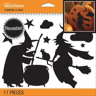 Jolee's Reusable Pumpkin Cling 11/Pkg-Witch Silhouette - witch silhouette