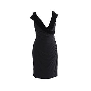 Ralph Lauren Women's Velvet-Trim Sheath Dress Black, 18