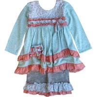Isobella & Chloe Baby Girls Cyan Blue Ruffle Autumn Breeze Pants Outfit 3-24M