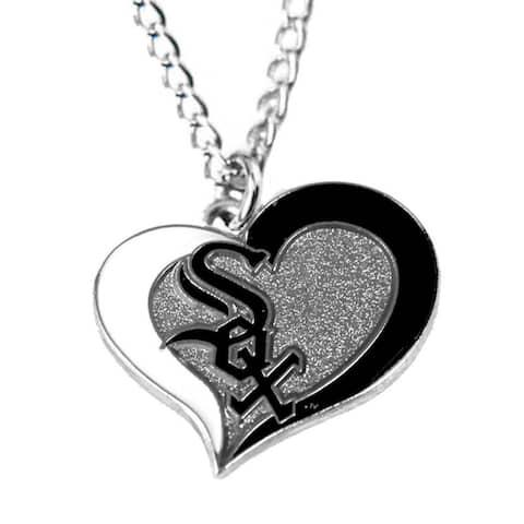 "MLB Chicago White Sox Sports Team Logo Swirl Heart Necklace - 3/4"" Charm & 18"" chain"