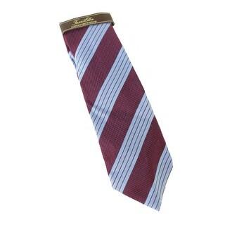 Tasso Elba NEW Red Blue Mens One Size Textured Stripe-Print Neck Tie