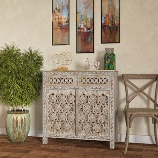 The Curated Nomad Vira Filigree Design Wood Chest with Drawers
