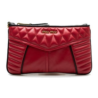 MIU MIU Women's Nappa Quilted Leather Continental Clutch Wallet Wrislet Rose Red - S