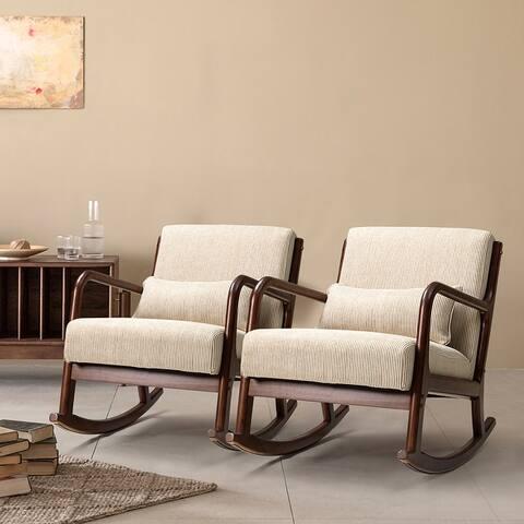 Zulama Rocking Chair with a Lumbar Pillow Set of 2