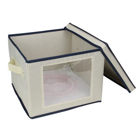 """10"""" Beige and Blue Salad and Plate Storage Container - N/A"""