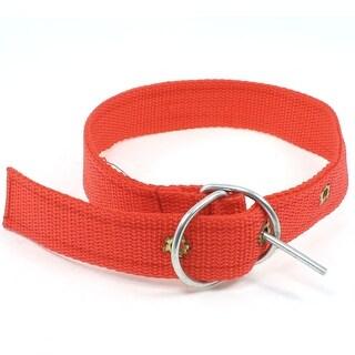 Unique Bargains Single Prong Buckle 3 Holes Design Detail Red Adjustable Dog Pets Collar Rope