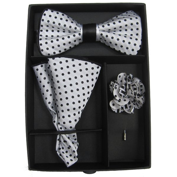 a31b02dcfc4c Shop Men's Black & Grey Polka Dot Bow Tie with matching Hanky and Lapel  Flower - One size - Free Shipping On Orders Over $45 - Overstock - 16199484