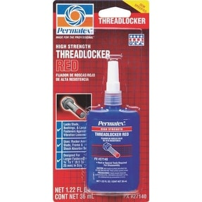 Permatex 27140 High Strength Threadlocker, Red, 36 ml