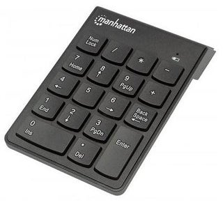 Numeric Wireless Usb Keypad, With Usb Micro Recevier, 18 Full-Size Keys, Black .