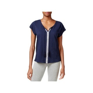 Lucky Brand Womens Pajama Top Embroidered Short Sleeve