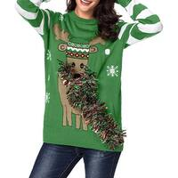 QZUnique Women Ugly Christmas Sweater Cute elk Knitted Pullover with Suspenders