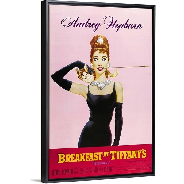 10c7844d2969 Shop Floating Frame Premium Canvas with Black Frame entitled Breakfast At  Tiffanys (1961) - Multi-color - Free Shipping Today - Overstock - 25508781