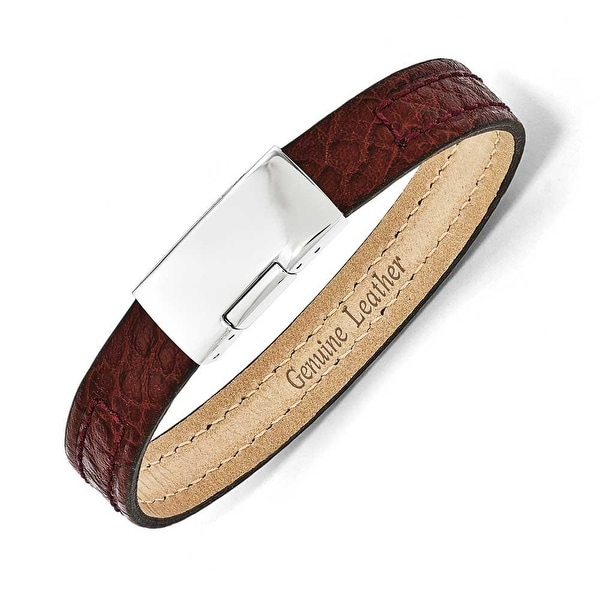 Chisel Stainless Steel Polished Textured Burgundy Leather 8in Bracelet